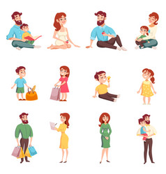 family members cartoon style set vector image