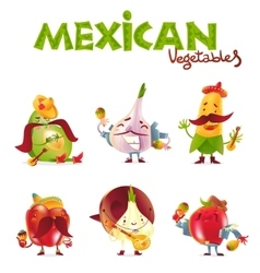 Mexican vegetable characters playing musical vector image vector image