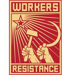 Workers resistance poster vector image