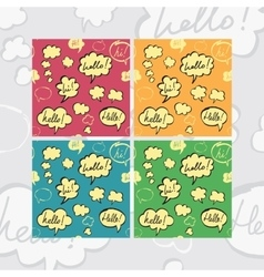 Hello and Hi Speech Bubbles Seamless Pattern Set vector image vector image