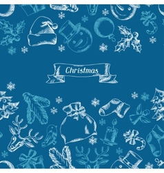 Merry Christmas hand drawn seamless pattern design vector image vector image