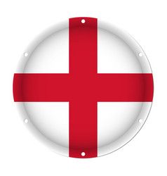 round metallic flag of england with screw holes vector image