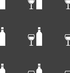 Wine Icon sign Seamless pattern on a gray vector image vector image
