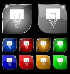 Basketball backboard icon sign set of ten colorful vector