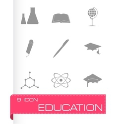 black education icons set vector image