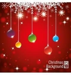 christmas background hanging balls shining lights vector image