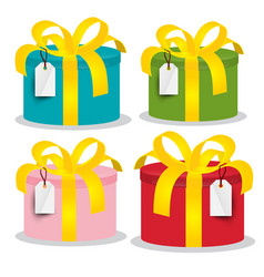 colorful paper gift boxes set isolated on white vector image