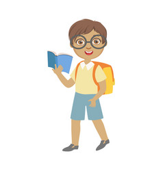 cute schoolboy wearing glasses carrying backpack vector image vector image