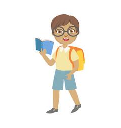 Cute schoolboy wearing glasses carrying backpack vector