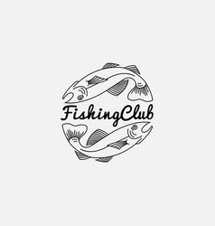 fish logo in outline style vector image vector image
