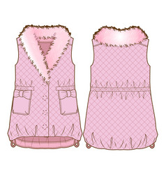 Front and back sides of a vest vector
