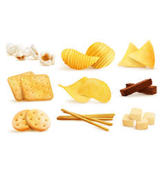 Salty snack pieces set vector