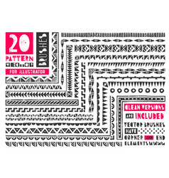 set of 20 pattern brushes for vector image vector image