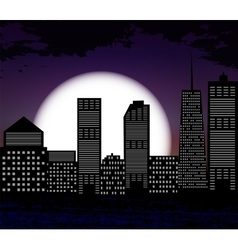 Silhouette of Big City on Background of White Moon vector image vector image