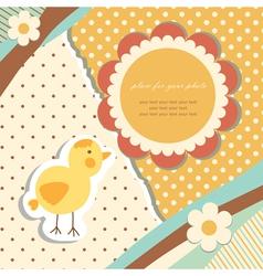 Vintage baby chicken vector image vector image