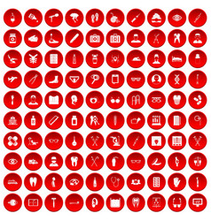 100 medical treatmet icons set red vector