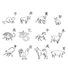12 animals of the Chinese zodiac calendar The vector image