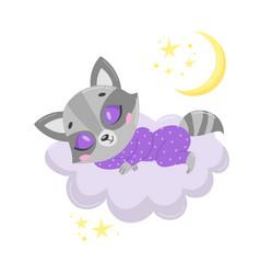 a cute cartoon raccoon sleeping vector image