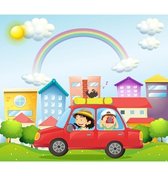 A mother and child in a car with a bird vector