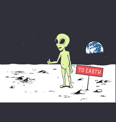 Alien want to get to earth vector