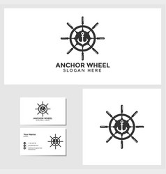 anchor wheel logo template with business card vector image