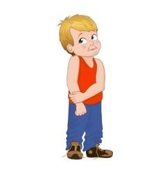 Angry little bully boy face vector
