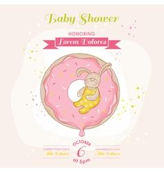 babunny on a donut - bashower card vector image