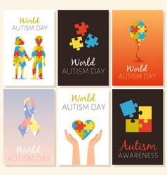 Banners for world autism and attention deficit day vector