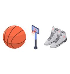 Basketball equipment icons set isometric style vector