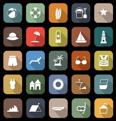 Beach flat icons with long shadow vector