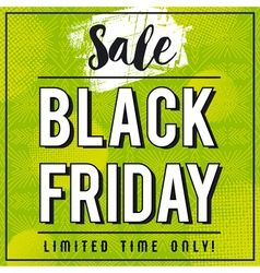Black friday sale banner on green patterned backgr vector image