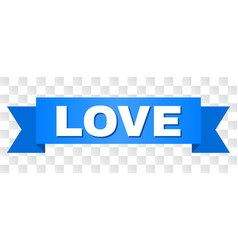 Blue ribbon with love text vector