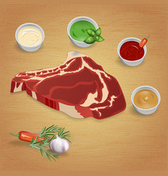 boston steak with delicious sauces and spices vector image
