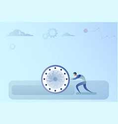 Business man pushing clock time management vector