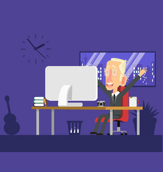 business man working at workplace vector image
