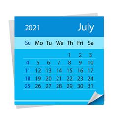 Calendar sheet on month july 2021 vector