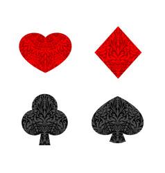cards suit floral outline set vector image