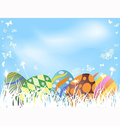 color painted easter eggs background vector image