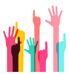 colorful human hands isolated on white background vector image