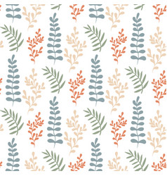 Colorful leaves seamless pattern hand-drawn vector