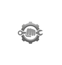 Creative fist mechanic wrench gear logo vector