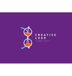 creative glasses logo and hourglass vector image