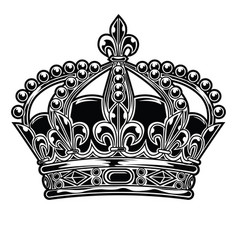 crown black and white king queen 444 vector image
