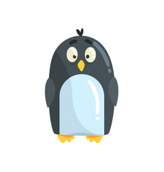 Cute little funny penguin chick character vector