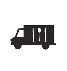 delivery truck icon with cutlery vector image