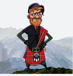 Disgruntled cartoon redhead scottish highlander in vector