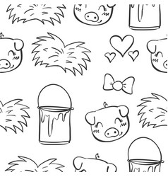 doodle pig and grass hand draw vector image