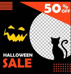 Editable halloween sale background template vector