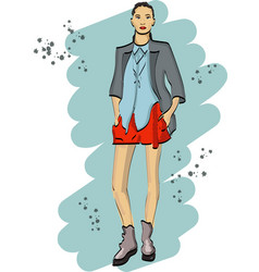 fashion sketch with young woman in shorts vector image