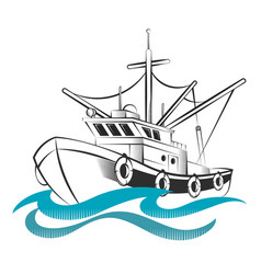 fishing trawler silhouettes vector image